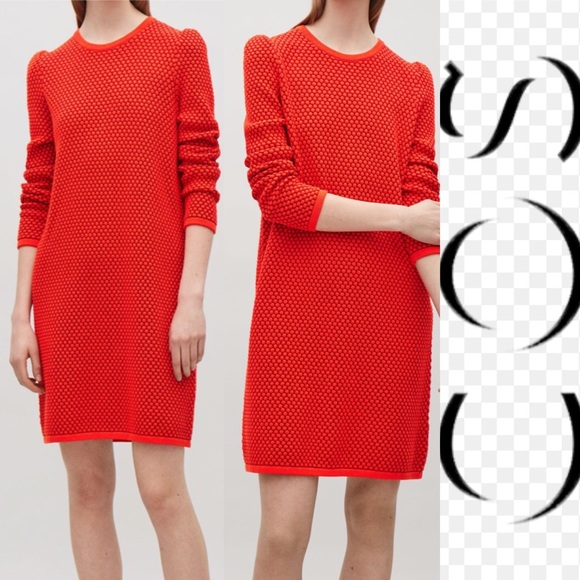 edd9feb00f48 COS Dresses | Red Coral Raised Knit Casual Sweater Dress | Poshmark